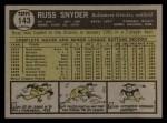 1961 Topps #143  Russ Snyder  Back Thumbnail