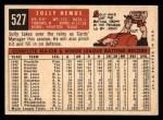 1959 Topps #527  Solly Hemus  Back Thumbnail