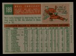 1959 Topps #189  Neil Chrisley  Back Thumbnail