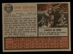 1962 Topps #302  Johnny Edwards  Back Thumbnail
