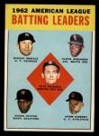 1963 Topps #2   -  Mickey Mantle / Chuck Hinton / Floyd Robinson / Pete Runnels / Norm Siebern AL Batting Leaders Front Thumbnail