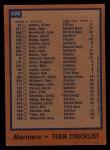 1978 Topps #499   Mariners Team Checklist Back Thumbnail