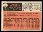 1966 Topps #491  Dennis Bennett  Back Thumbnail
