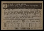 1952 Topps #47 BLK Willie Jones  Back Thumbnail