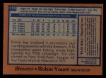 1978 Topps #173  Robin Yount  Back Thumbnail