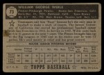 1952 Topps #73 BLK Bill Werle  Back Thumbnail