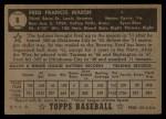 1952 Topps #8 BLK Fred Marsh  Back Thumbnail