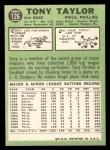 1967 Topps #126  Tony Taylor  Back Thumbnail