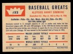 1960 Fleer #32  Al Simmons  Back Thumbnail
