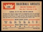 1960 Fleer #36  Mel Ott  Back Thumbnail