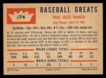 1960 Fleer #76  Paul Waner  Back Thumbnail