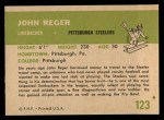 1961 Fleer #123  John Reger  Back Thumbnail