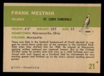 1961 Fleer #21  Frank Mestnick  Back Thumbnail
