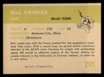 1961 Fleer #205  Bill Krisher  Back Thumbnail