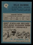 1964 Philadelphia #19  Willie Galimore  Back Thumbnail