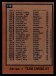 1978 Topps #112   Astros Team Checklist Back Thumbnail