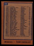 1978 Topps #328   Brewers Team Checklist Back Thumbnail