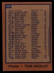 1978 Topps #606   Pirates Team Checklist Back Thumbnail