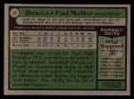 1979 Topps #24  Paul Molitor  Back Thumbnail