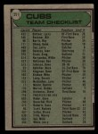 1979 Topps #551   -  Herman Franks  Cubs Team Checklist Back Thumbnail