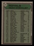 1979 Topps #451   -  Whitey Herzog  Royals Team Checklist Back Thumbnail