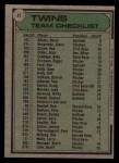 1979 Topps #41   -  Gene Mauch Twins Team Checklist Back Thumbnail