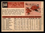 1959 Topps #544  Lee Tate  Back Thumbnail