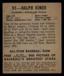 1949 Leaf #91  Ralph Kiner  Back Thumbnail