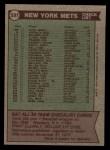 1976 Topps #531   -  Joe Frazier Mets Team Checklist Back Thumbnail