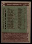 1976 Topps #384   -  Danny Ozark Phillies Team Checklist Back Thumbnail