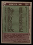 1976 Topps #556   -  Gene Mauch Twins Team Checklist Back Thumbnail