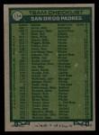 1977 Topps #134   -  John McNamara  Padres Team Checklist Back Thumbnail