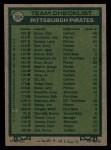 1977 Topps #354   -  Chuck Tanner Pirates Team Checklist Back Thumbnail