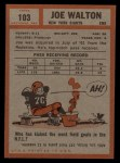 1962 Topps #103  Joe Walton  Back Thumbnail