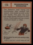1962 Topps #175   Redskins Team Back Thumbnail