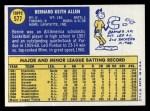 1970 Topps #577  Bernie Allen  Back Thumbnail