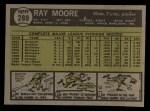1961 Topps #289  Ray Moore  Back Thumbnail