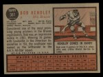1962 Topps #361  Bob Hendley  Back Thumbnail