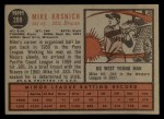1962 Topps #289  Mike Krsnich  Back Thumbnail