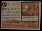 1962 Topps #515  Stan Williams  Back Thumbnail