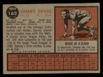 1962 Topps #162 NRM Sammy Drake  Back Thumbnail
