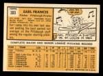 1963 Topps #303  Earl Francis  Back Thumbnail