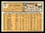 1963 Topps #352  Ken Johnson  Back Thumbnail