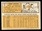 1963 Topps #181  Sammy Esposito  Back Thumbnail