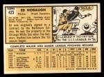 1963 Topps #423  Ed Hobaugh  Back Thumbnail
