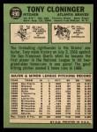 1967 Topps #490  Tony Cloninger  Back Thumbnail