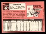 1969 Topps #239  Bob Taylor  Back Thumbnail
