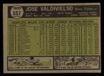 1961 Topps #557  Jose Valdivielso  Back Thumbnail