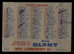 1957 Topps BLO  Blony Checklist - Series 2 & 3 Back Thumbnail