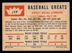 1960 Fleer #17  Ernie Lombardi  Back Thumbnail